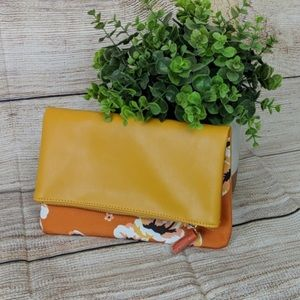 Rachel Pally Faux Leather Floral Foldover Clutch